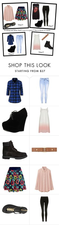 """Help me!! Party in a few weeks can't decide"" by marveliss2015 ❤ liked on Polyvore featuring Glamorous, Forever Link, Timberland, Marni, Uniqlo, IPANEMA, Topshop and New Look"