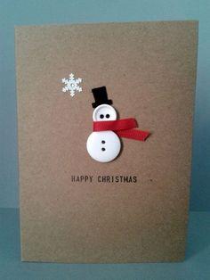 Handmade Button Snowman DIY Christmas Card. Cute! =)