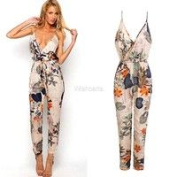Wish | Women Sexy V Neck Backless Flower Print Long Jumpsuit Playsuit Party Dress  W_C