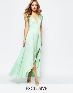 Image 1 of Fame and Partners Radiant Angel High Low Maxi Dress
