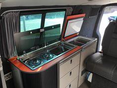 EVO Mercedes Sprinter or VW Crafter Side door kitchen pod Camping Gas, Van Camping, Van Conversion Furniture, Camper Van Kitchen, Rock And Roll Bed, Campervan Interior, Campervan Ideas, Vw Crafter, Door Table