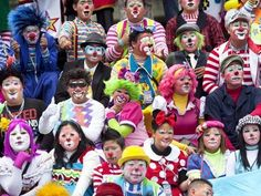 Clowns gather for a group picture during the 4th annual Latin American Clown Congress in Guatemala City on July 24, 2012.