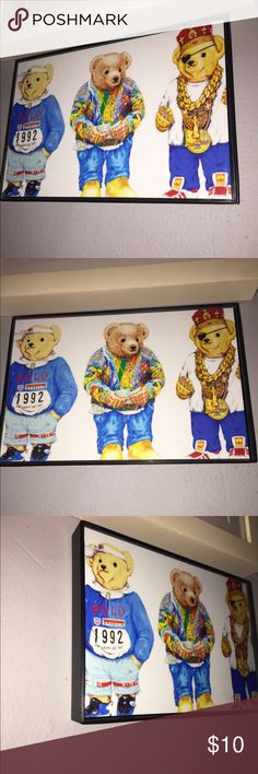 """Polo Ralph Lauren teddy bear print with frame polo Ralph Lauren , teddy bear 🐻 vintage , calsssic remixed art print with floating picture frame  . High gloss print measures 4""""x 6"""" picture has art easel stand in back or can be hung on wall . Looks great with other prints next & around it . Express your style beyond your wardrobe. ( If interested in bigger 5""""x7"""" + $3 ...... 8""""x10"""" + $5 ....... message me SORRY NO OFFERS PRICE FIRM ). Polo by Ralph Lauren Other"""