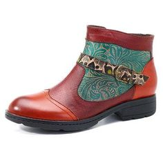 Designer SOCOFY New Printing Retro Plant Pattern Flat Ankle Leather Boots - NewChic Mobile
