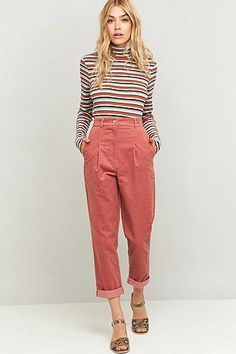 Urban Renewal Vintage Remnants Rose Corduroy Trousers - Urban Outfitters