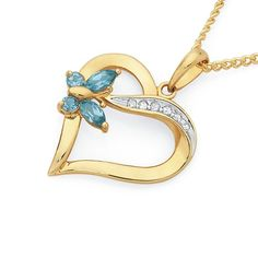 9ct Gold Blue Topaz & Diamond Heart Pendant with Butterfly