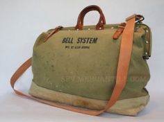 canvas leather tool bag | ... Vintage BELL SYSTEM by Klein-Buhrke Canvas & Leather Linemans Tool Bag
