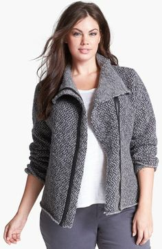 Eileen Fisher Leather Trim Wool Jacket (Plus Size). A jacquard knit spun from a rich Italian blend of organic and alpaca wools renders a structured jack......[$408.00] #fashiontakesaction