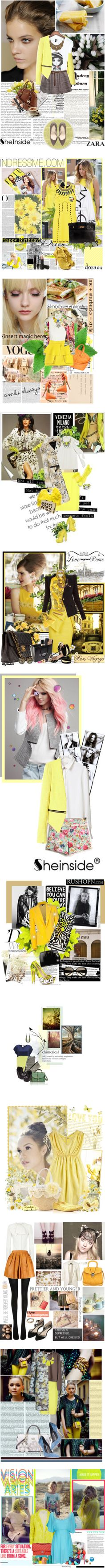 """Something yellow part one"" by shaneeeee ❤ liked on Polyvore"