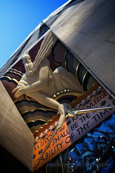The Art Deco Low-Relief Panel of Wisdom by Lee Lawrie at the Entrance of Rockefeller Center in New York City