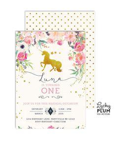 Invitación de cumpleaños de unicornio caballo cumpleaños