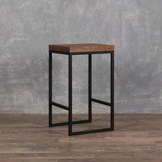 Loft Furniture, Steel Furniture, Industrial Furniture, Furniture Decor, Furniture Design, Log Bar Stools, Kitchen Stools, Diy Chair, Wood Table