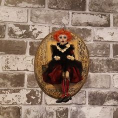 Alice In Wonderland - Queen Of Hearts - Figure - Wonderland - Sculpted Figure - Wall Hanger - Framed Doll - Art Doll - Artistic Doll - OOAK by Rustiikkitupa on Etsy