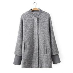 $41.51 Casual Style Stand Collar Long Sleeve Solid Color Knit Women's Coat