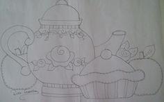 Acrilex • Tintas Artísticas - Tecido - Bule com torta e maçãs
