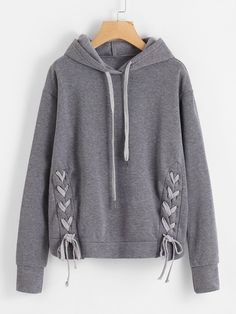 Shop Lace Up Side Marled Hoodie online. SheIn offers Lace Up Side Marled Hoodie & more to fit your fashionable needs.