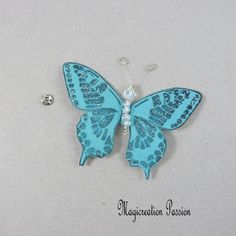 Papillon soie bouton pression turquoise 7.5 cm Turquoise, Insects, Creations, Drop Earrings, Support, Dimensions, Passion, Jewelry, Playing Card