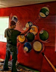 HttpswwwyoutubecomuserBilijar Pool Balls Mural Idea - Pool table painting