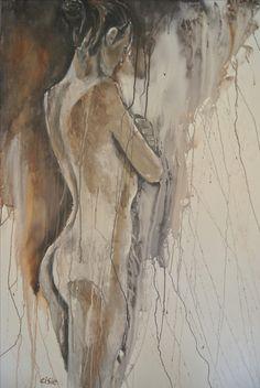 schilderij vrouw in druiptechniek
