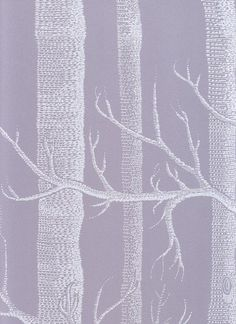 Woods Wallpaper Outline trees in white on grey mauve background