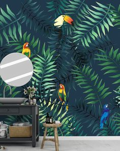 Le papier peint tropical est l'une des révélations de l'année #tropical #papierpeint #tendance #design #perroquet #toucan