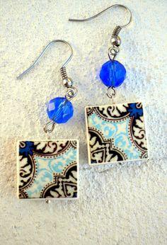 Portugal Antique Azulejo Tile Replica Earrings Blue by Atrio,