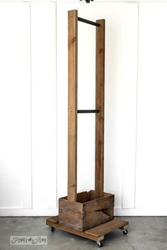 Old crate storage trolley idea. Or use it for a portable closet in a laundry room. funkyjunkinteriors.net
