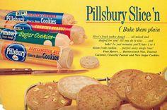 1959 ad for Pillsbury Slice 'n Bake cookie dough. #vintage #1950s #food #cookies