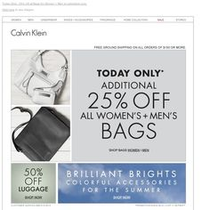 Calvin Klein - Today Only - 25% Off All Bags For Women + Men