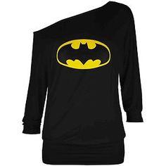 Ladies 3/4 Sleeves Superman Batman Off Shoulder Batwing Womens Top TShirt Jumper   eBay