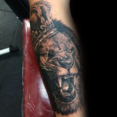 Lion With Crown Mens Shaded Forearm Tattoo Ideas
