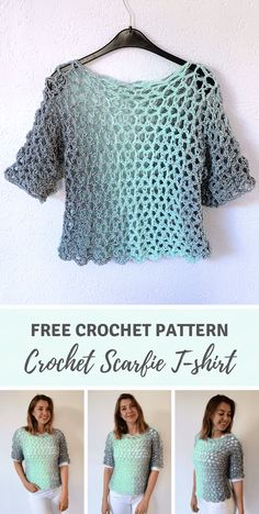 Easy crochet top pattern for beginners FREE Wilmade Simple Crochet T-shirt by Wilmade made with Scarfie yarn for beginners Free pattern on wilmade including video crochet garment top shirt The Effective Pictures Crochet T Shirts, Crochet Blouse, Crochet Clothes, Knit Crochet, Crochet Vests, Crochet Shawl, Crochet Edgings, Crochet Gratis, Crochet Motif