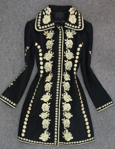 It is getting cool and cold, this beautiful black embroidered wool Coat Jacket will keep you warm. It is heavy jacket made from 70% wool fabric. Enjoy free shipping!