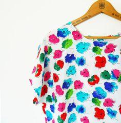 Boxy Bright Floral Vintage Top / Vintage Floral Blouse / 80s Oversized Floral Top / Vintage Statement Blouse