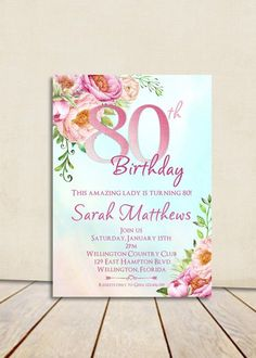 Watercolor Floral 80th Birthday Invitation Any Age by 3PeasPrints
