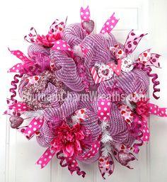 Valentine Mesh Wreaths   ... Mesh Valentine Wreath Hot Pink White Stripe Love Heart Door Wreath