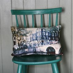 """I love these photo pillow ideas!  These are made by the talented photographer/artist Rhiannon Connelly, living in Scotland. """"Amsterdam Canal Cushion"""""""