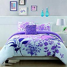 image of Lavender Shadow Botanical Comforter Set