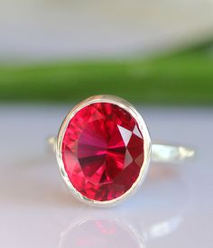 Raspberry Quartz In Sterling Silver Ring - Made To Order (Last One). $95.00, via Etsy.