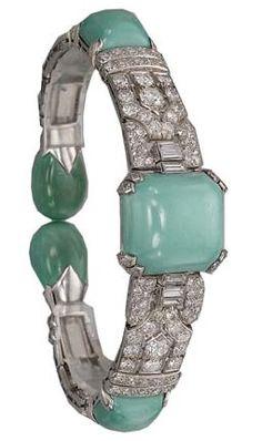 Art Deco Turquoise, Diamond & Platinum Bangle by Van Cleef & Arpels 1925