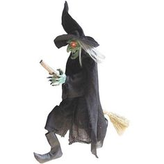 """42"""" H Flying Green Faced Witch Sound Activated Adds Great Scary Atmosphere New #Generic"""