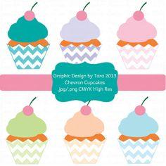 NEW Chevron Cupcakes Digital Clip Art by graphicdesignbytara