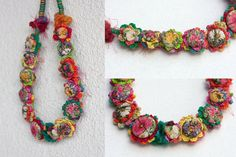 Floral textile necklace crochet jewelry with fabric por rRradionica