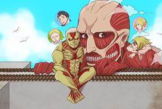 Attack on Titan - Annie,Reiner, and Bertholdt : Titan Trio in Titan Form Film Manga, Manga Anime, Anime Art, Levi X Eren, Armin, Otaku, Naruto, Kaneki, Ereri