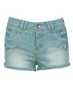 Blue Stud Detail Denim Roll Up Shorts € 20.18 #chiarafashion