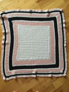 A personal favorite from my Etsy shop https://www.etsy.com/ca/listing/246017721/baby-blanket-crochet-cotton-black-pink