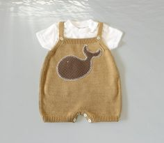 Knitted overalls in camel with a whale. 100 cotton. by tenderblue #tenderblue #etsy #babyfashion