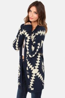 Southwest Sweetheart Beige and Navy Blue Print Cardigan Sweater