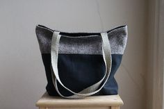 Tweed Waxed Canvas Tote Bag. Large Purse. Brown and Black. Eco Friendly. by blissjoybull