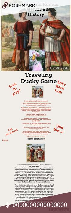Traveling Ducky Game Monday My granddaughter pass in November sorry my heart was no where to be found moving forward ❤️  Welcome to my Traveling Ducky Game  where you can gain tons of followers and pick one as well!   Please read pages!  Page 1 How to play. Page 2 Educational fun. Page 3 Exsample of daily Picks. Page 4 How the game is set up and played with other host and team members as they join. Tops Crop Tops
